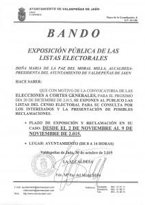 exposición pública de las listas electorales